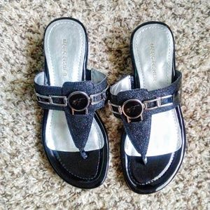 Marc Fisher Black Glitter Amina Thong Sandals